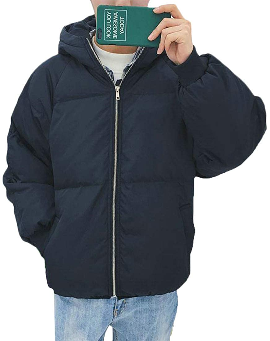 Cromoncent Men Winter Quilted Hooded Puffer Packable Down Jacket Parka Coat