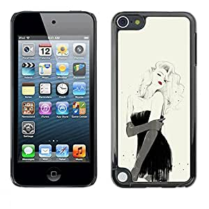 TopCaseStore / Snap On Hard Back Shell Rubber Case Protection Skin Cover - Girl Lips Sexy Fashion Black Dress - Apple iPod Touch 5