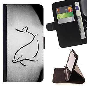 BODY ART PAINTING DOLPHIN TATTOO SIMPLE/ Personalizada del estilo del dise???¡Ào de la PU Caso de encargo del cuero del tir????n del soporte d - Cao - For Samsung Galaxy S5 Mini, SM-G800