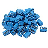 Ocamo 100PCS KF301 3 Pin Screw Blue PCB Terminal Block Connector