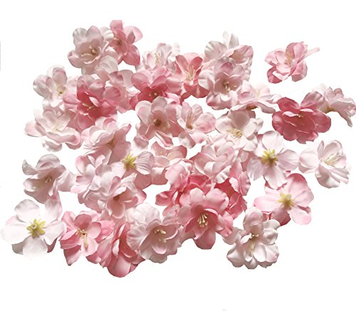 Cherry Blossom Flower Heads, 100pcs Colorfulife Artificial Silk Flower Head Petals Bridal Shower Favors for Wedding Party Supplies Table Floor Decoration Centerpieces Home Decorative (Pink)