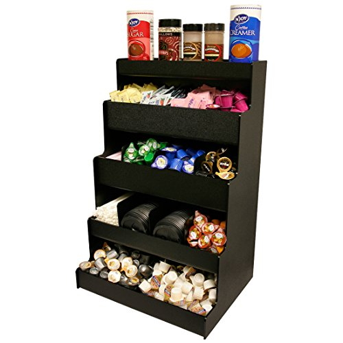 Coffee Condiment Organizer for Professional & Commercial Coffee Presentation. 25''High With Open Top shelf. Proudly Made by PPM is the USA! by Plastic & Products Marketing PPM