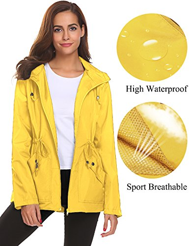 Romanstii Rain Jacket,Women Lightweight Waterproof Raincoat with Hood Lined Outdoor (Lined Windbreaker Jacket)