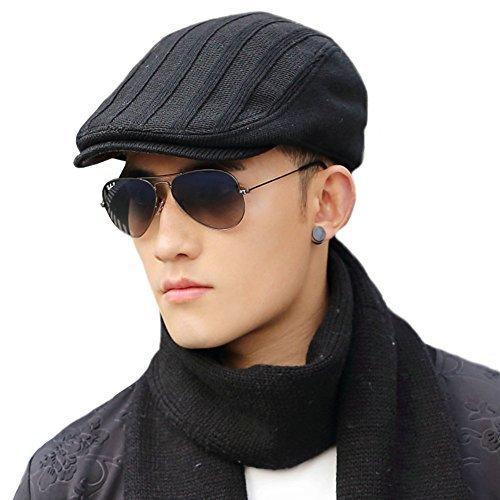 Wool Newsboy Cap for Men Winter Hat Fitted Hunting Ivy Flat Cap British Drivers Cap Black SIGGI -