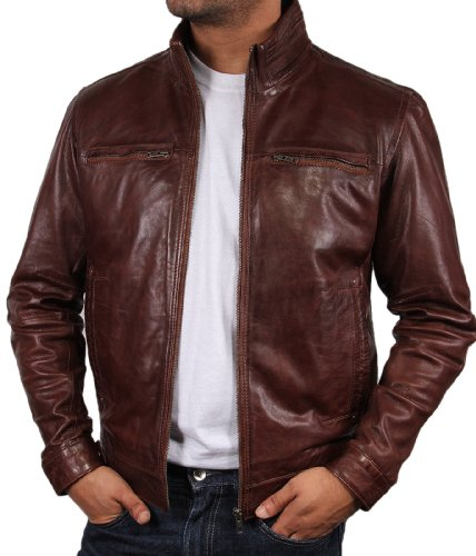 Brandslock Mens Leather Biker Jacket Coat Designer (X-Small, Brown) (Jackets Designer Leather Mens)