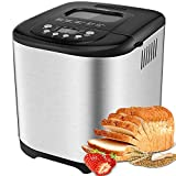 Aicok Automatic Bread Maker, 2LB Programmable Bread Machine With LED Display, Visual Menu (15 Programs, 3 Loaf Sizes, 3 Crust Colors, 15 Hours Delay Timer, 1 Hour Keep Warm)