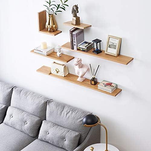 Estante flotante de madera de roble macizo de INMAN HOME para pared de madera de roble macizo, estante para colgar en la pared, estante de exhibición ...