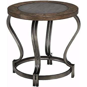 circular furniture. ashley furniture signature design volanta end table circular vintage casual caramel