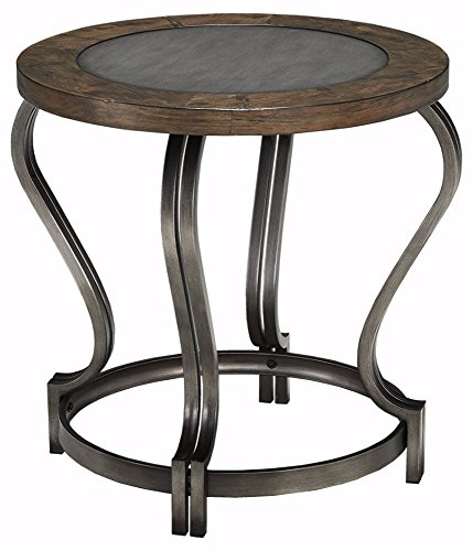 End Cabinet Table Round (Ashley Furniture Signature Design - Volanta End Table - Circular - Vintage Casual - Caramel)