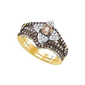 14kt Yellow Gold Womens Cognac-brown Colored Diamond Bridal Wedding Engagement Ring Band Set (1.1/3 cttw.)