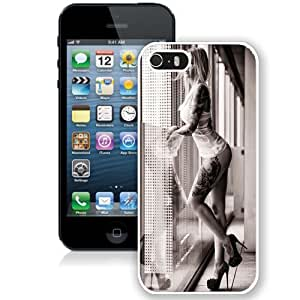 NEW Unique Custom Designed iPhone 5S Phone Case With Hot Blonde Tattooed Leg Sleeve Girl_White Phone Case