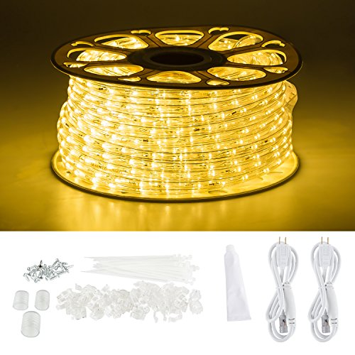 GuoTonG 131.2ft Plugin Rope Lights, 1440 Warm White LEDs, 110V, 2 Wire, Waterproof, Connectable, Power Socket Connector Fuse Holder, Indoor/Outdoor Use, Ideal for Backyards, Decorative Lighting (Rope Connector Power Light)