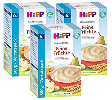 frutas Cereales Hipp Leche Orgánica Bellas, 3-pack (3 x 500g)