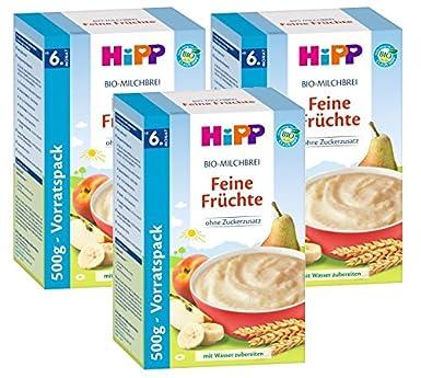 frutas Cereales Hipp Leche Orgánica Bellas, 3-pack (3 x 500g)