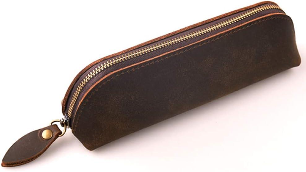 GRT Vintage cremallera piel Case, hecha a mano piel lápiz estuche, Künstlerbedarf, para VUZ de lapicero de oficina, Student schreibwaren, color marrón: Amazon.es: Oficina y papelería