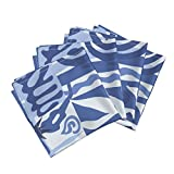 Roostery Matisse Swallow Guitar Tile Blue Bird Fish Linen Cotton Dinner Napkins Matisse03blue by Chicca Besso Set of 4 Dinner Napkins