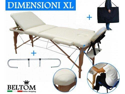 5 opinioni per LETTINO MASSAGGIO 3 ZONE IN LEGNO DIMENSIONE XL 195 X 70 CM + PORTAROTOLO PER