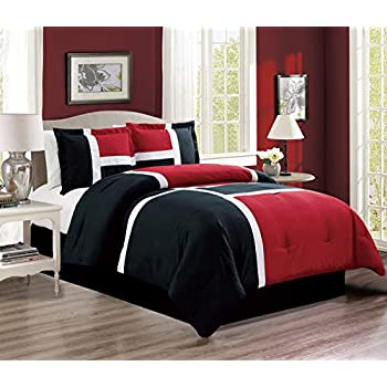 4-Piece All-Season Down Alternative Quilted Patchwork FULL Size Comforter Set- Hypoallergenic Summer Cooling Ultra Soft Bedding- Plush Microfiber Fill - Machine Washable (Burgundy, Red, Black, White)