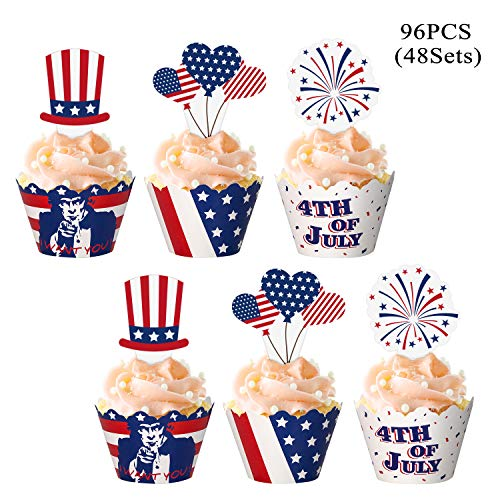 jollylife 96PCS Fourth/4th of July Cupcake Toppers Wrappers - Patriotic Party Supplies Cake Decorations(48Sets)
