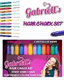 Hair Chalk Pens - Gabriells 12 Hair Color Pen Set & Face Paint Kit- Non Toxic wax - Best Gift for Girls, Boys, Children, Men and Women - Temporary Colors