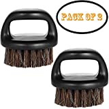 Borogo 2-Pack Beard Brush for Men - Men's Beard Brush ( Essential Tool For Professional Barbering & Grooming Services ), Brush Neck Face Duster Brush for Hairdressing Salon Household