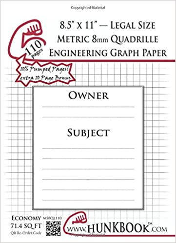 engineering graph paper 110pages white metric 8mm quadrille
