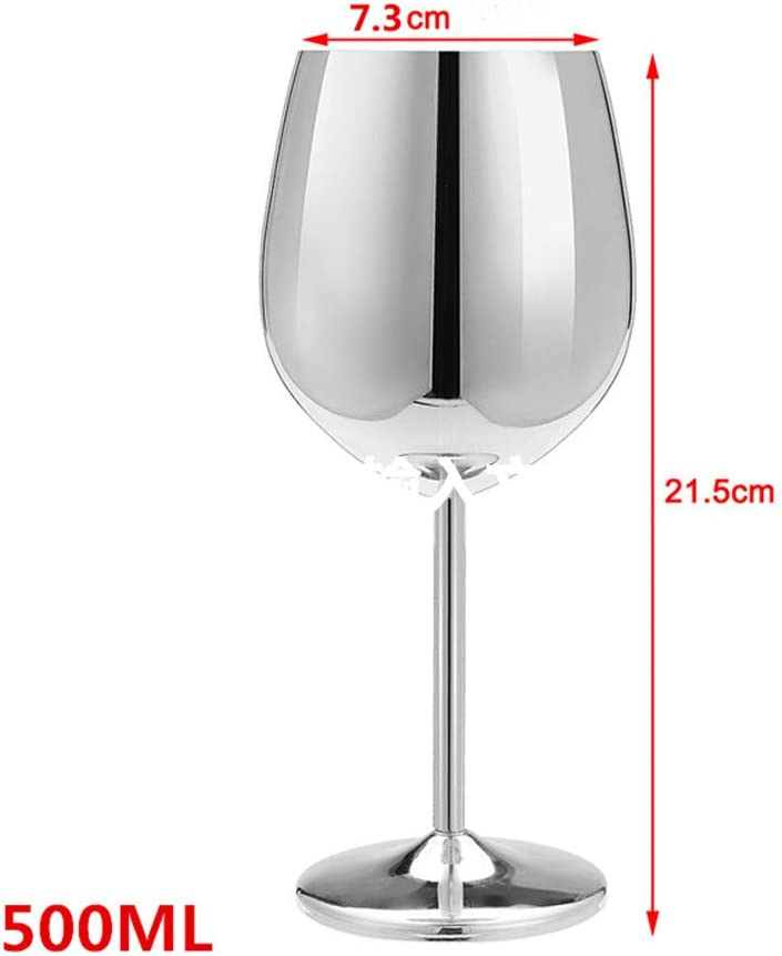 XIUJINGHONG Acero Inoxidable Copa de Vino tinto Plata Taza para Beber Copa de Champagne Copa 2 piezas Plata (500ml Acero inoxidable Copa de vino ...