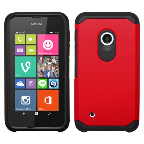 (MyBat Asmyna NOKIA Lumia 530 Astronoot Phone Protector Cover - Retail Packaging - Black/Red)