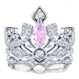 925 Sterling Silver Crown-shaped Pink Diamond Bridal Wedding Band Engagement Ring Sets for Women (7)