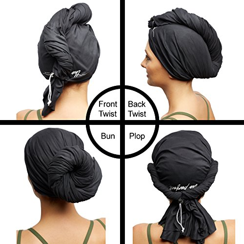 The Perfect Microfiber Hair Towel Wrap - Absorbent Turban for Fast, Anti-Frizz Drying - Never Falls Off Curly or Straight Hair - (38.5''x27.5'') Includes Wet or Dry Detangling Brush (Black) by The Perfect Haircare (Image #2)