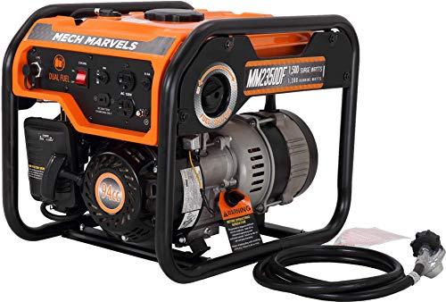Mech Marvels 1500 Watt Portable Power Dual Fuel Generator, Carb Compliant MM2350DF, Orange