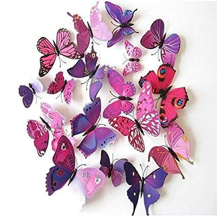 Onlineshoppee 12pcs/Set 3D Wall Stickers Butterfly Fridge Magnet for Wall Decor