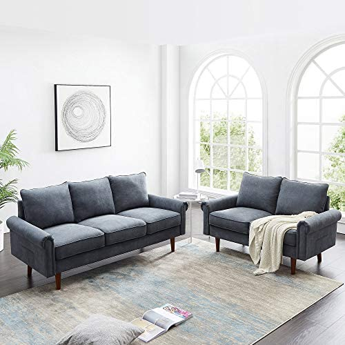 Dolonm 2 Piece Sofa Sets Mid Century Modern Upholstered Sectional Loveseat Couch Set Furniture