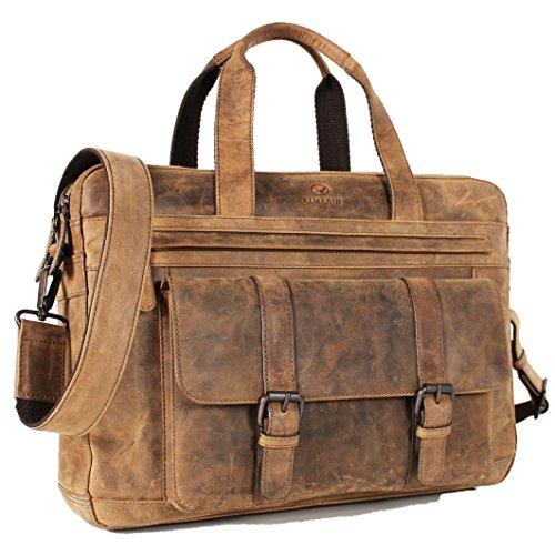 Valigetta in pelle ALMADIH IP26 - borsa a tracolla in pelle marrone Vintage oxs custodia Pull Up Vintage