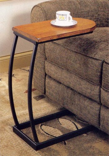 coaster transitional brown accent table with black metal base