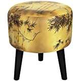 The captivating silk screen print shown on our Gold Bamboo Stool features a blossoming plum branch amidst a lush bamboo grove on a golden background. This stool would make a great addition to any home as a subtle yet refined Asian accent.