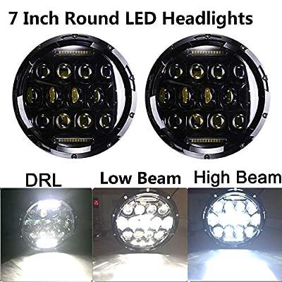 7 Inch 150W Brightest Round LED Headlights High Low Beam DRL Driving Light LED Projector for Jeep Wrangler JK LJ JKU TJ CJ Sahara Rubicon 5 Years Warranty