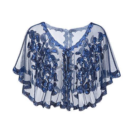 (Metme Vintage Women Shawl 1920s Flapper Cover Ups Sequin Cape Evening)