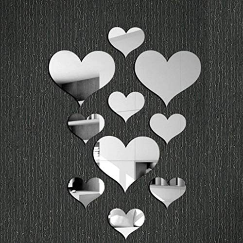 10pcs Vacally Love Heart Shaped Acrylic 3D Mirror Wall Sticker Mural Decal Removable Bedroom Bathroom Living Room Windows Stickers Decor 40X60cm (Sliver)