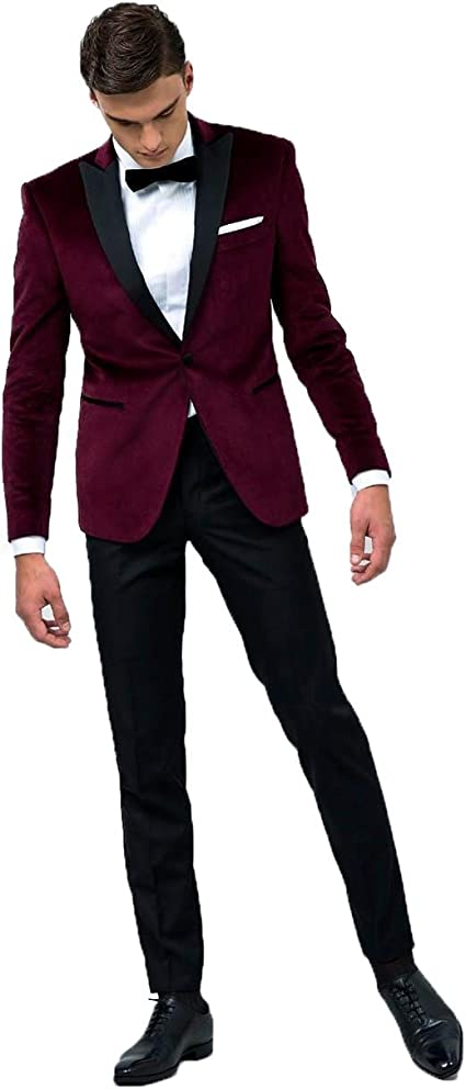Sipei Wine Red Jacket Black Pants Men Wedding Formal Business Suits Jacket Pants Wine Red Xs Amazon Ca Clothing Accessories