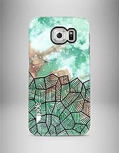 """april® Funda carcasa para Samsung Galaxy S6 Edge, """"Green cosmic"""" diseño exclusivo hecho a mano estampado estrellas nebulosa verde"""