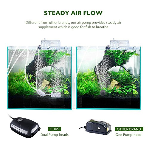 Habor Fish Tank Pump Oxygen Pump Aquarium Air Pump Portable Silent  Double-Headed Hydroponics Water Pump With 2 Air stone, 2M Silicone Tube, 2  Outlets