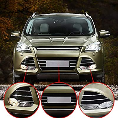 3pcs MOTORFANSCLUB Chrome Trim Front Lower Grille for Ford Escape Kuga SE 2013-2016 Grill Fog Cover