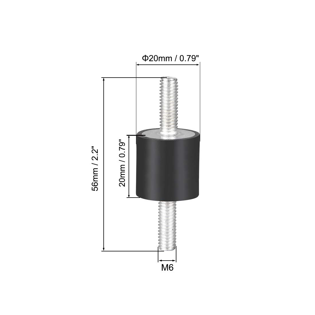 uxcell/® 20 x 20mm Rubber Mounts,Vibration Isolators,Shock Absorber with M6 x 18mm Studs 4pcs