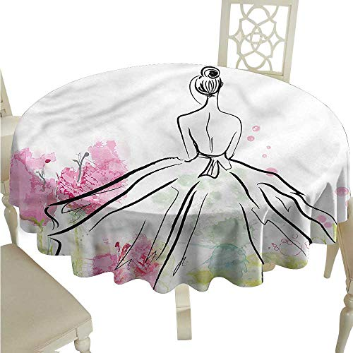 (ScottDecor Table Cover Girls,Back of Dressed Lady Nature Picnic Cloth Round Tablecloth D)