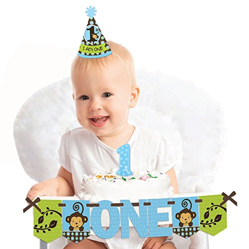 Big Dot of Happiness Blue Monkey Boy 1st Birthday - First Birthday Boy Smash Cake Decorating Kit - High Chair Decorations ()