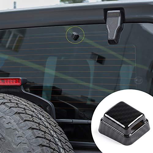 - Rear Window Windshield Wiper Sprinkler Trim Cover for 2018 2019 Jeep Wrangler JL JLU (Carbon Fiber)
