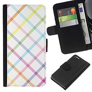 KLONGSHOP // Tirón de la caja Cartera de cuero con ranuras para tarjetas - patrón de cuadros de lino blanco y limpio - Apple Iphone 5C //