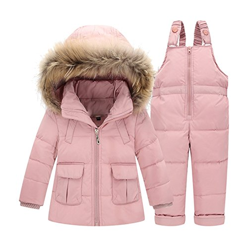 Luodemiss Girl's Baby Two Pieces Thicken Down Snowsuit Hooded Jacket Lightweight Skating Bibs Light Pink,2-3 Years