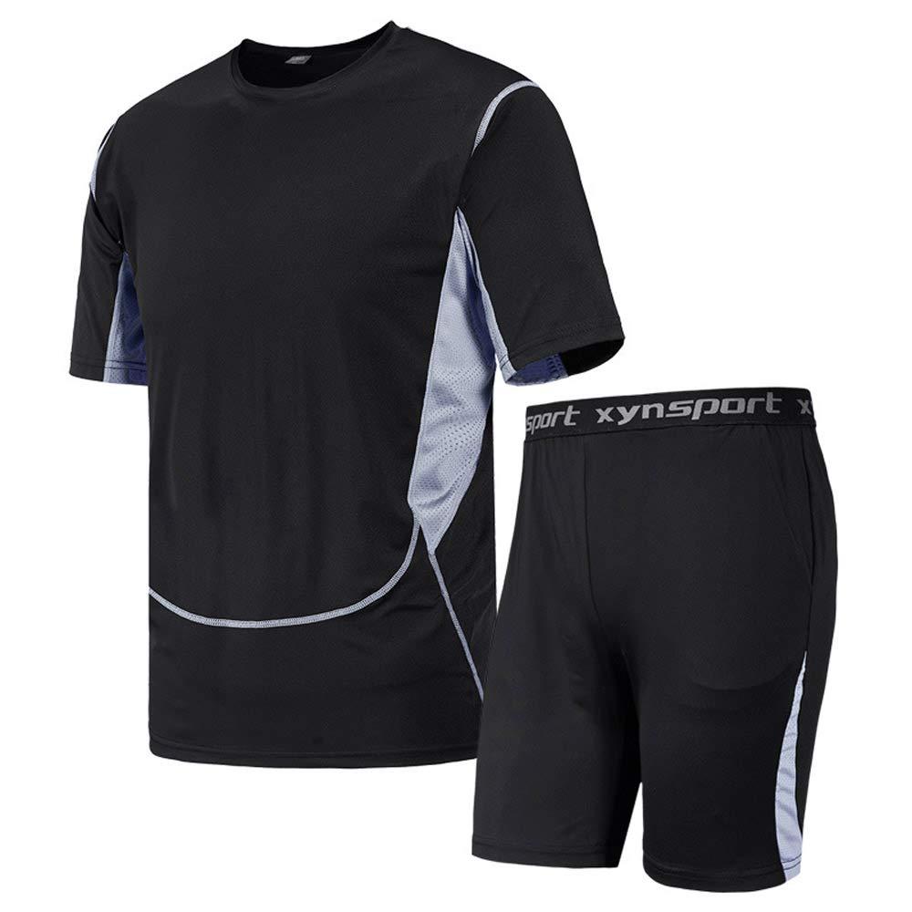 PPSGY Herren Fitness Laufbekleidung Set Tights Schnelltrocknendes Lauf-T-Shirt
